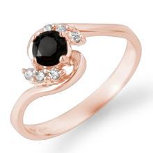 Natural 0.50 ctw Black & White Diamond Ring 14K Rose Gold - 14036-#22G9R