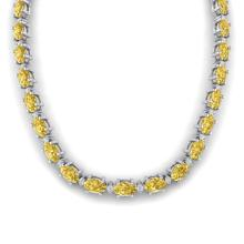 61.85 CTW Citrine & Diamond Certified Eternity Tennis Necklace 10K White Gold - 29503-REF#252V8A