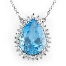 Natural 14.08 ctw Blue Topaz & Diamond Necklace 14K White Gold - 10230-#99X7Y