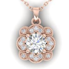0.75 CTW Diamond Solitaire Art Deco Necklace 16 Inches 14K Rose Gold - 30517-REF#96W2H