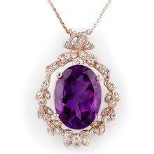 Natural 12.8 ctw Amethyst & Diamond Necklace 14K Rose Gold - 10042-#94Y5V