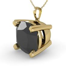 6.0 CTW Cushion Black Certified Diamond Bridal Solitaire Necklace 14K Yellow Gold - 32380-REF#135V5A