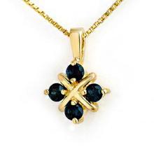Genuine 0.52 ctw Blue Sapphire Pendant 10K Yellow Gold - 12649-#6W7K