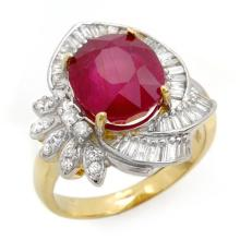 Natural 5.20 ctw Ruby & Diamond Ring 14K Yellow Gold - 12866-#96N2F