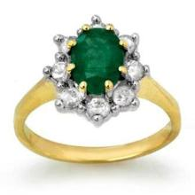 Natural 1.80 ctw Emerald & Diamond Ring 10K Yellow Gold - 13094-#70T2Z