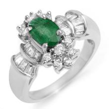 Natural 1.75 ctw Emerald & Diamond Ring 18K White Gold - 10586-#79T5Z