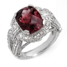 Genuine 8.50 ctw Rubellite & Diamond Ring 14K White Gold - 11073-#209G5R