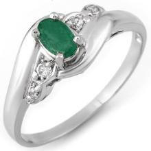 Genuine 0.42 ctw Emerald & Diamond Ring 10K White Gold - 10981-#14A8N