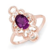 Genuine 0.80 ctw Amethyst & Diamond Ring 14K Rose Gold - 12569-#20P5X
