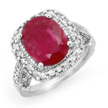 Genuine 9.40 ctw Ruby & Diamond Ring 14K White Gold - 13445-#128G2R