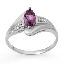 Genuine 0.37 ctw Amethyst & Diamond Ring 10K White Gold - 12437-#12W5K