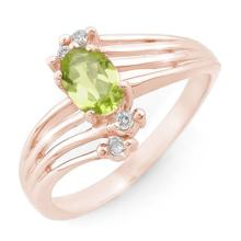 Genuine 0.55 ctw Peridot & Diamond Ring 10K Rose Gold - 13435-#19T2Z