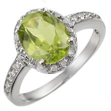 Natural 2.10 ctw Peridot & Diamond Ring 14K White Gold - 11438-#25W5K
