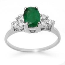 Genuine 1.18 ctw Emerald & Diamond Ring 18K White Gold - 13967-#28Y7V