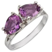 Natural 2.0 ctw Amethyst Ring 10K White Gold - 10774-#17H3W