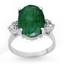 Genuine 6.35 ctw Emerald & Diamond Ring 10K White Gold - 13353-#36F2M