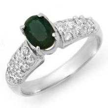 Natural 1.50 ctw Emerald & Diamond Ring 18K White Gold - 13264-#59Y7V
