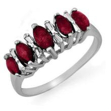 Natural 0.88 ctw Ruby Ring 18K White Gold - 12676-#28P3X