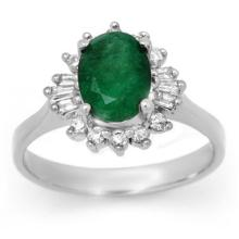 Natural 1.78 ctw Emerald & Diamond Ring 18K White Gold - 13648-#50Z8P