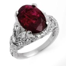Genuine 5.60 ctw Rubellite & Diamond Ring 14K White Gold - 11137-#185N8F