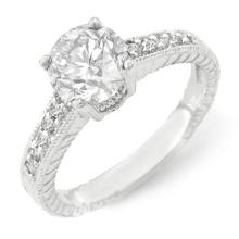Natural 1.05 ctw Diamond Solitaire Ring 18K White Gold - 14076-#124X9Y
