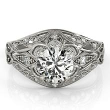 Genuine 1.36 CTW Certified Diamond Solitaire Bridal Antique Ring 18K White Gold - 27339-REF#296R6Z