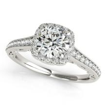 Genuine 0.90 CTW Certified Diamond Bridal Solitaire Halo Ring 18K White Gold - 26542-REF#110H3R