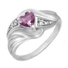 Genuine 0.41 ctw Amethyst & Diamond Ring 10K White Gold - 12493-#17W5K