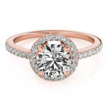 Genuine 1.40 CTW Certified Diamond Bridal Solitaire Halo Ring 18K Rose Gold - 26818-REF#287X8A