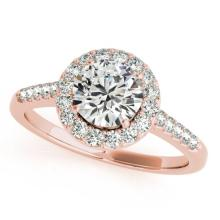 Genuine 1.50 CTW Certified Diamond Bridal Solitaire Halo Ring 18K Rose Gold - 26342-REF#303M2H