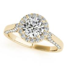Genuine 1.25 CTW Certified Diamond Bridal Solitaire Halo Ring 18K Yellow Gold - 26382-REF#178X8A