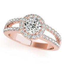 Genuine 1.26 CTW Certified Diamond Bridal Solitaire Halo Ring 18K Rose Gold - 26432-REF#180F3M