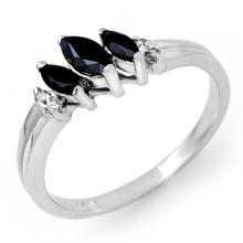 Genuine 0.29 ctw Blue Sapphire & Diamond Ring 14K White Gold - 13525-#21Y3V