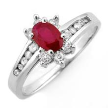 Natural 1.03 ctw Ruby & Diamond Ring 10K White Gold - 10906-#27X5Y