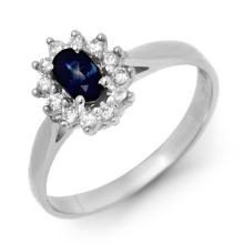 Natural 0.51 ctw Blue Sapphire & Diamond Ring 18K White Gold - 12626-#28W5K