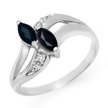 Genuine 0.74 ctw Blue Sapphire & Diamond Ring 14K White Gold - 12717-#22T2Z