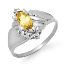 Natural 0.52 ctw Citrine & Diamond Ring 10K White Gold - 12318-#13N8F