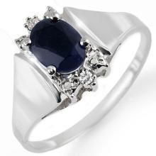 Natural 1.43 ctw Blue Sapphire & Diamond Ring 10K White Gold - 10706-#14H2W