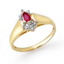 Genuine 0.22 ctw Ruby & Diamond Ring 10K Yellow Gold - 13847-#12W2K