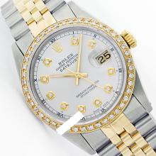 Rolex Ladies 2Tone 14K Gold/ Stainless Steel, Diamond Dial & Diamond Bezel, Saph Crystal - REF#321K8A
