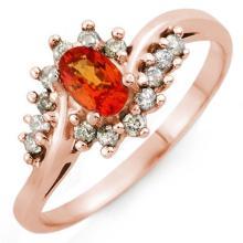 Genuine 0.55 ctw Orange Sapphire & Diamond Ring 18K Rose Gold - 10101-#35H3W