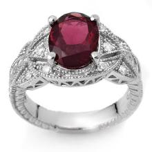 Genuine 3.25 ctw Pink Tourmaline & Diamond Ring 10K White Gold - 10109-#63H8W