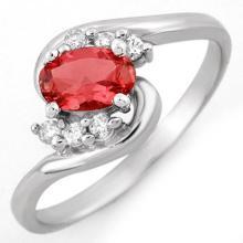 Natural 0.50 ctw Pink Tourmaline & Diamond Ring 18K White Gold - 10082-#29X7Y
