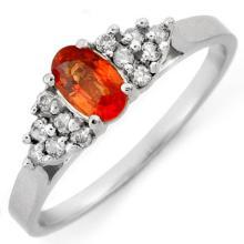 Natural 0.50 ctw Orange Sapphire & Diamond Ring 10K White Gold - 10474-#15N5F