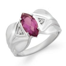 Genuine 1.08 ctw Amethyst & Diamond Ring 10K White Gold - 12459-#17A8N