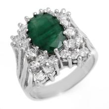 Genuine 4.75 ctw Emerald & Diamond Ring 14K White Gold - 13363-#122W2K