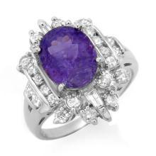 Natural 5.0 ctw Tanzanite & Diamond Ring 18K White Gold - 13434-#169F3M