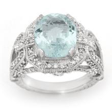 Natural 6.50 ctw Aquamarine & Diamond Ring 14K White Gold - 14504-#157G2R