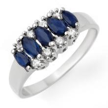 Natural 1.02 ctw Blue Sapphire & Diamond Ring 18K White Gold - 12960-#30Y2V