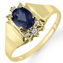 Genuine 1.28 ctw Blue Sapphire & Diamond Ring 10K Yellow Gold - 12993-#14H8W